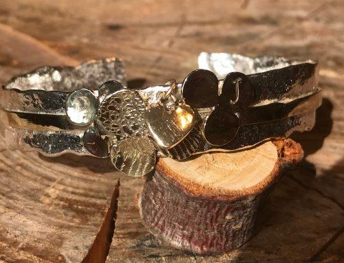 Armband zilver en goud met vingerafdruk