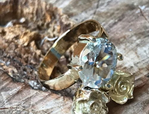 Geel gouden roos ring met Aquamarijn